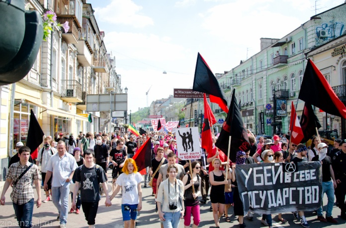 Der Anarchistenblock, 1. Mai 2014, Kyiw, Ukraine