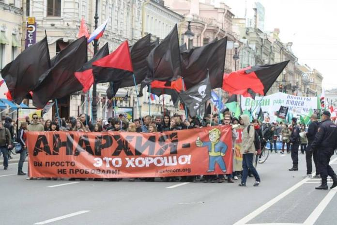 Der Anarchistenblock, 1. Mai 2014, St. Petersburg