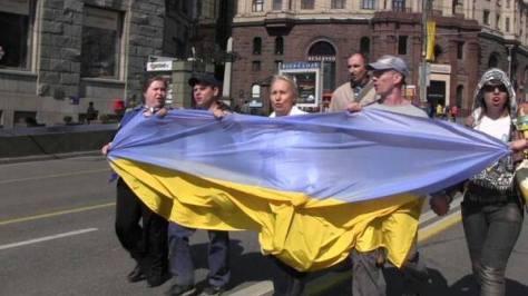Russische Aktivisten am 1. Mai 2014 in Moskau. Die Aktivisten wurden festgenommen und zu Geldstrafen und 10 Tagen Haft verurteilt.