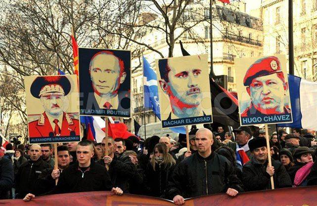 "Manifestation of neo-fascist movement ""La 3ème Voie""(Third Way) in Paris 2013 supporting a series of very dubious characters, Chavez is only there to confuse you."