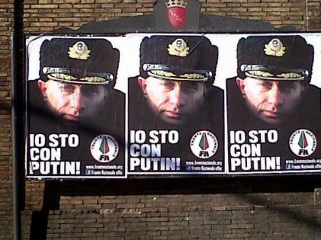 'I agree with Putin!', the poster campaign launched by the Fronte Nazionale in 2013
