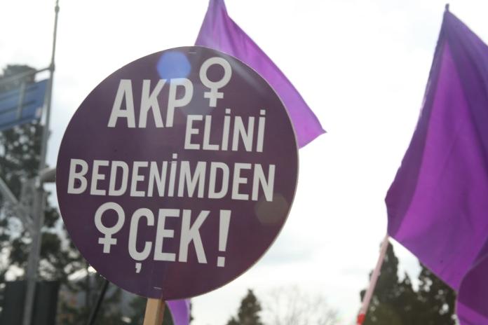 "Source: Sendika via LeftEast. Translation: ""AKP, hands off my body!"""