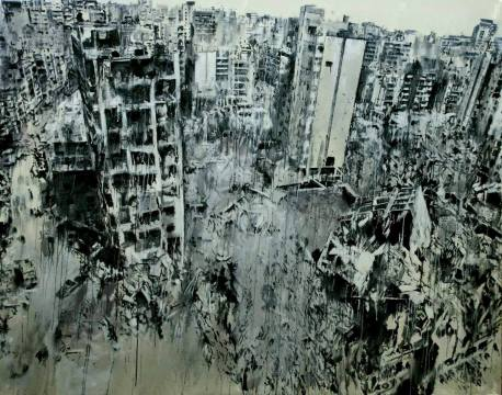 Storeys - طــوابق Acrylic on Canvas, 185 X 235 cm, 2015