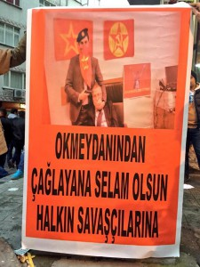 """Okmeydanı sends its regards to the fighters in Çağyalan"" – Poster at a barricade in the Istanbul neighborhood of Okmeydanı"