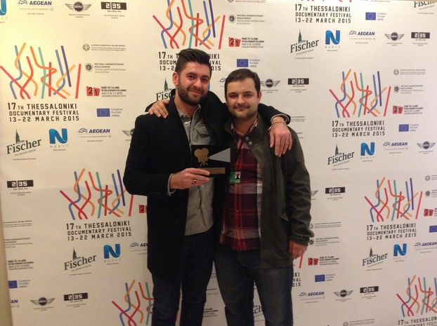 Andreev and Marinos after winning the Thessaloniki Film Festival's Audience Award for Best Short Film